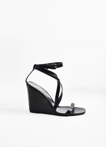 Hermes Black Leather Criss Cross Ankle Strap Wedge Sandals Sideview