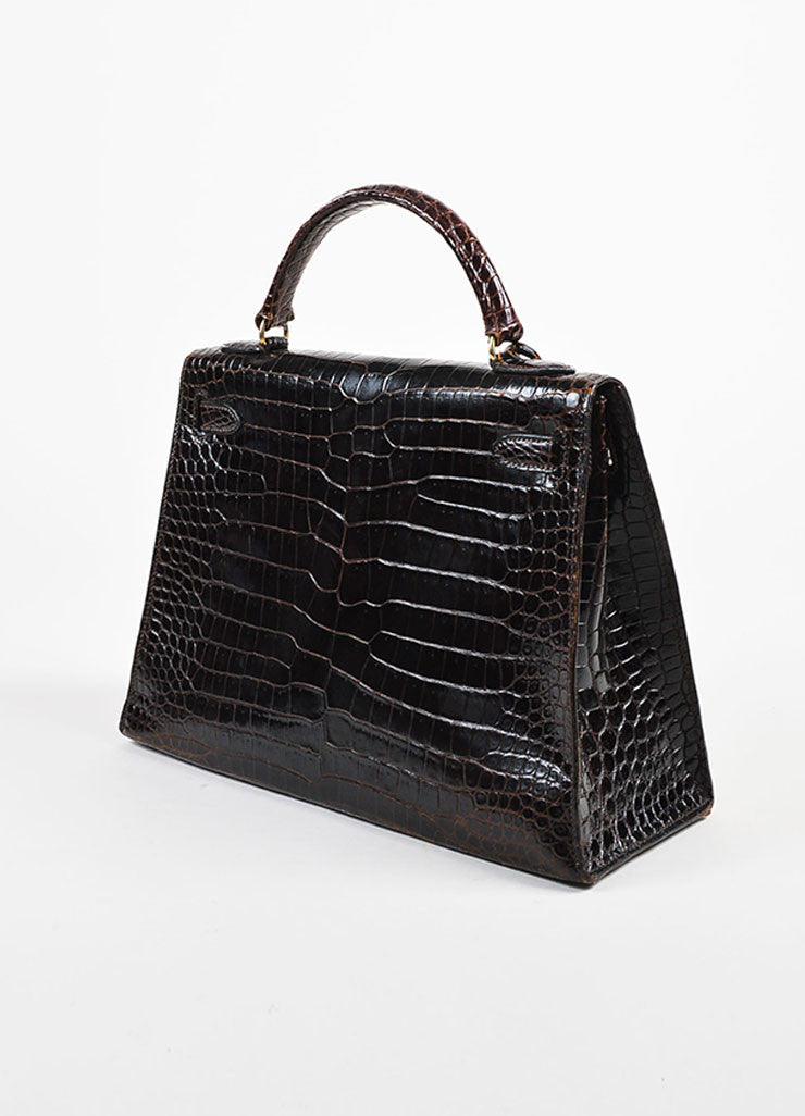 "Hermes Brown and Gold Toned Porosus Shiny Crocodile ""Kelly 32"" Handbag Sideview"