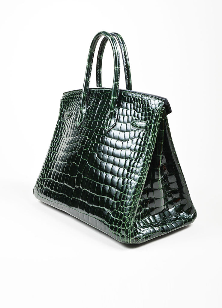 "Dark Green Hermes Crocodile Porosus Shiny Leather ""35cm Birkin"" Bag Sideview"