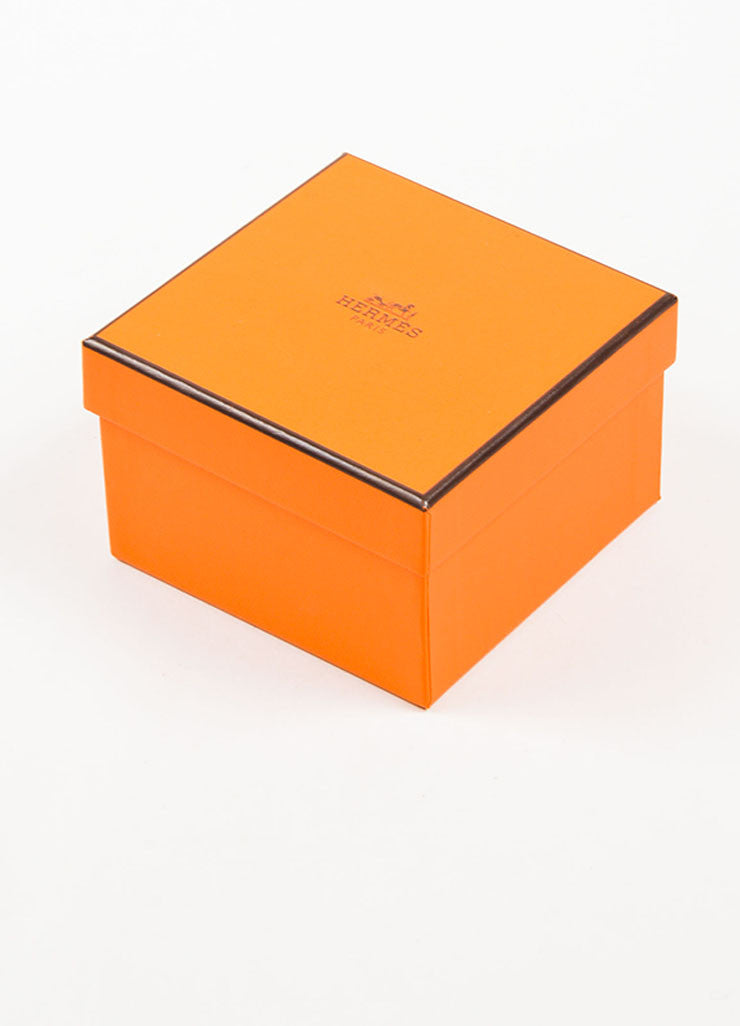 "Hermes Silver Toned and Black Enamel ""Quadrige"" Printed Mega Bracelet Box"