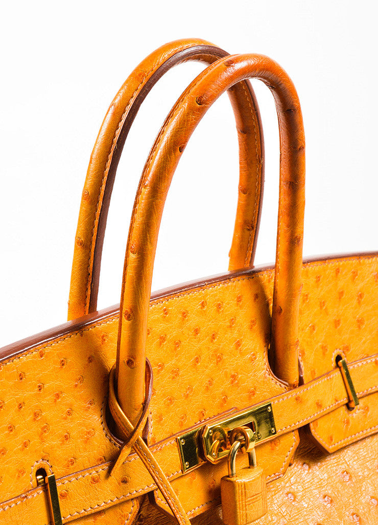 "Hermes 'Saffron' Orange Tan Ostrich Leather 35cm ""Birkin"" Handbag Detail 2"