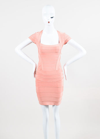 """Blush"" Pink  ""Blush"" Pink Square Neck Short Sleeve ""Rae"" Bandage Dress Square Neck Short Sleeve ""Rae"" Bandage Dress Frontview"
