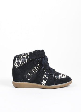 "Black and White Isabel Marant Suede and Pony Hair Zebra ""Bobby"" Wedge Sneakers Sideview"