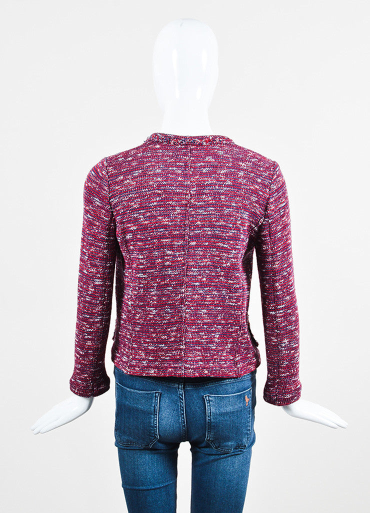 Isabel Marant Etoile Red, Navy, and White Knit Four Pocket Jacket Backview