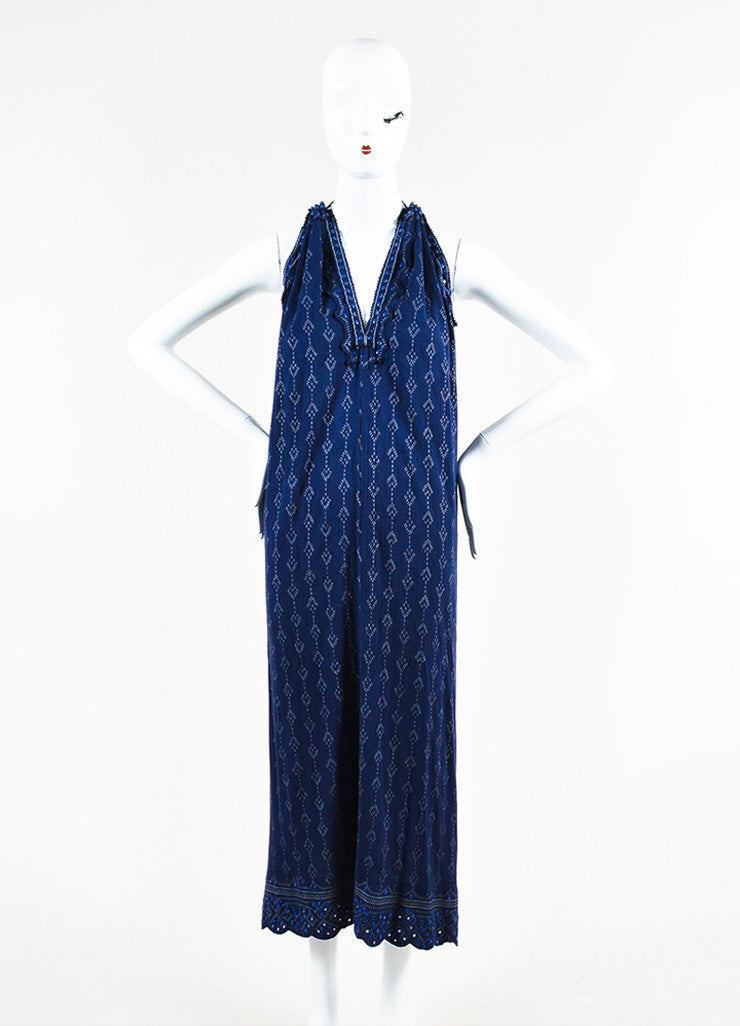 Isabel Marant Navy and Grey Printed Halter Maxi Dress Frontview