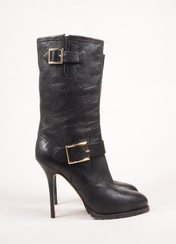 Jimmy Choo Black and Gold Toned Leather Buckle Lug Sole High Heel Moto Boots Sideview
