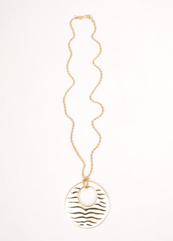 Kenneth Lane Gold Toned, White, and Black Enamel Zebra Striped Disc Pendant Necklace Frontview