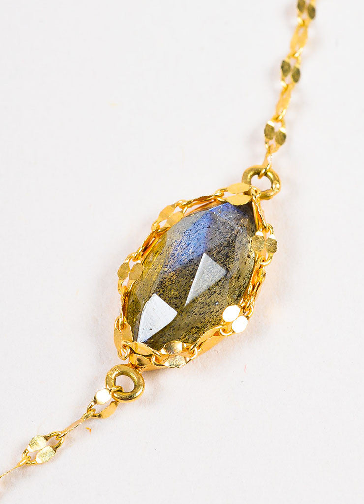 "Lana 14K Yellow Gold and Labradorite ""Possessed Gypsy"" Station Necklace Detail"