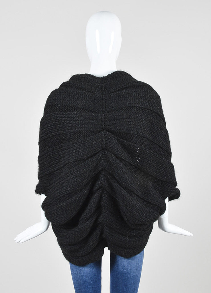 Charcoal Grey Lanvin Woolen Woven Chunky Knit Cocoon Sweater Cardigan Backview
