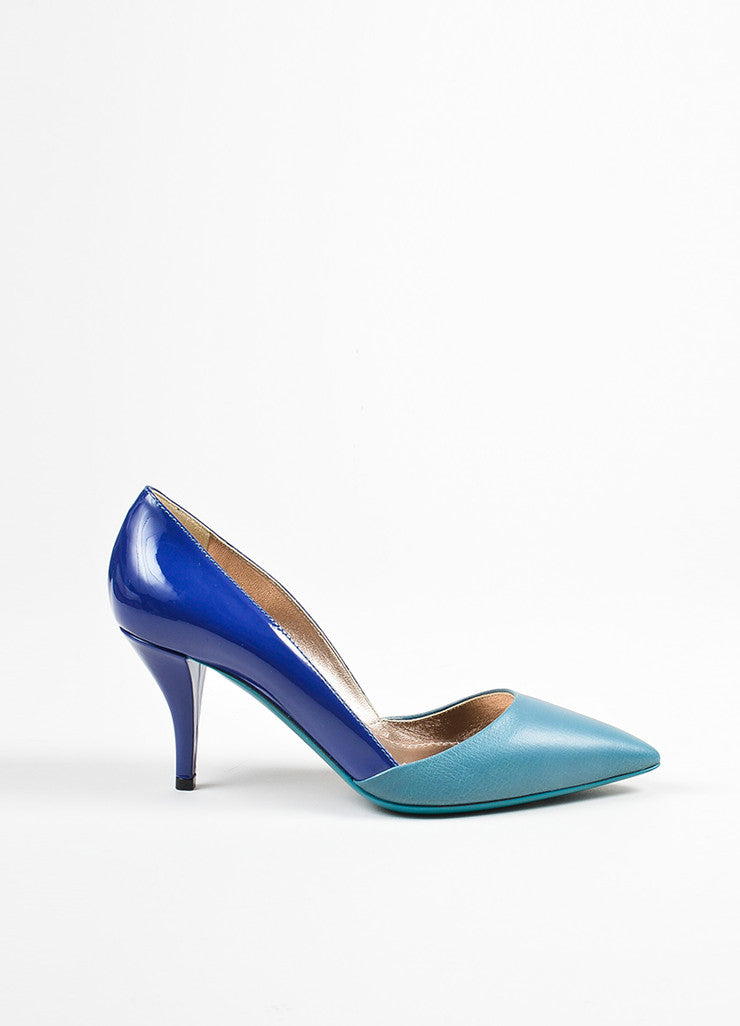 Lanvin Blue and Teal Patent Leather Pointed Toe High Heel Pumps Sideview