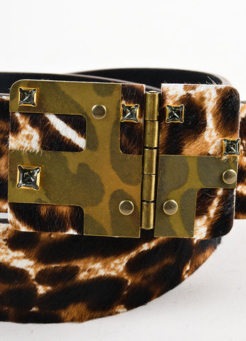 Black and Brown Lanvin Pony Hair Leopard Print Rhinestone Belt Detail