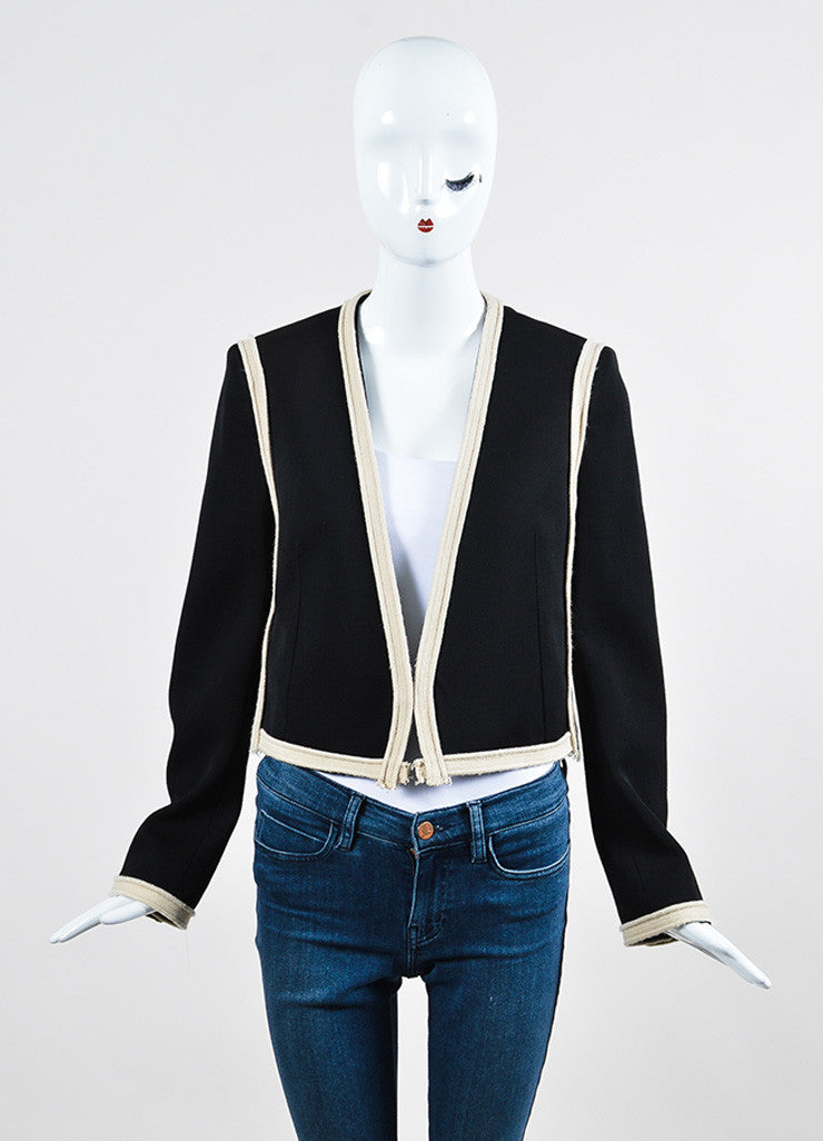 Black and Beige Lanvin Wool Braided Trim Collarless Cropped Jacket Frontview 2