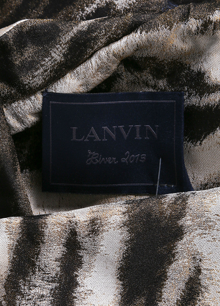 Lanvin New With Tags Silver, Bronze, and Brown Metallic Zebra Print Blazer Jacket Brand