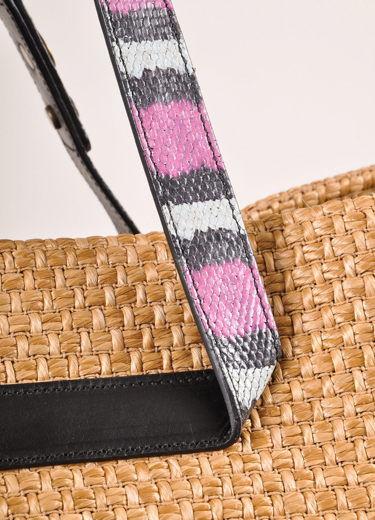 Lanvin Tan, Black, and Magenta Leather Straw Woven Tote Bag Detail 2