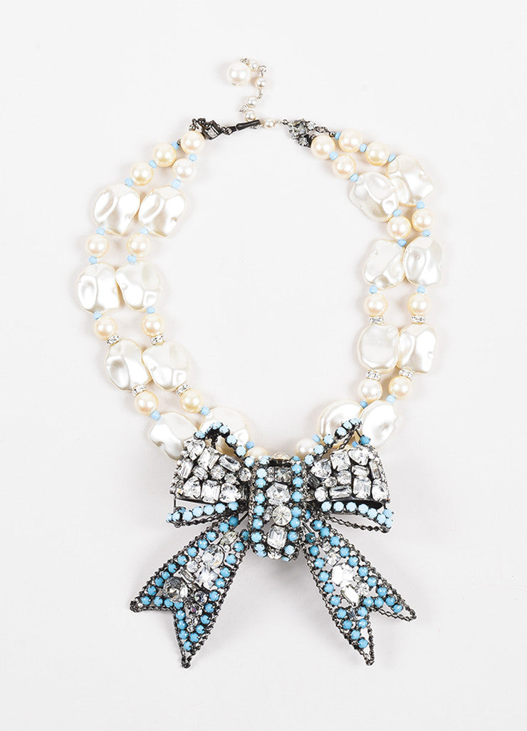 Lawrence VRBA Faux Pearl and Turquoise Beaded Rhinestone Bow Necklace and Earring Set Necklace
