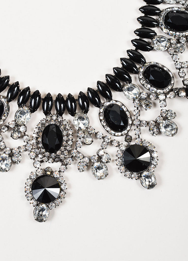 Lawrence Vrba Silver Toned and Black Resin Crystal Bib Statement Necklace Detail
