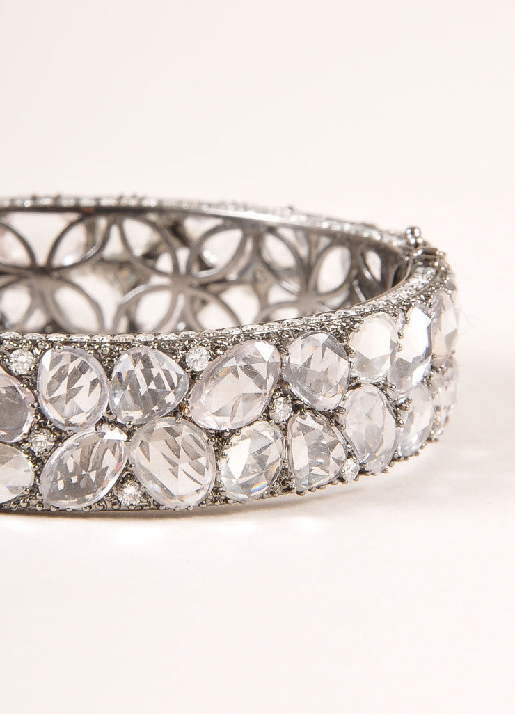 Lorraine Schwartz Diamond and White Sapphire Encrusted Hinged Bracelet Detail