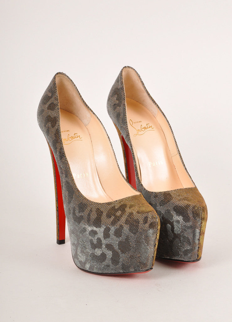 "Christian Louboutin Silver and Gold Metallic Leopard Print ""Daffodile"" Pumps Frontview"