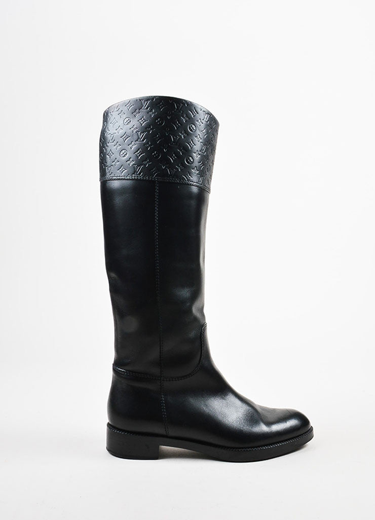 "Louis Vuitton Black Leather Monogram ""Free High"" Riding Boots Sideview"