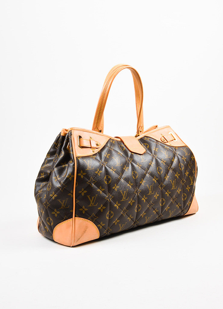 "Louis Vuitton Brown and Beige Coated Canvas and Leather ""Etoile Shopper"" Bag Sideview"