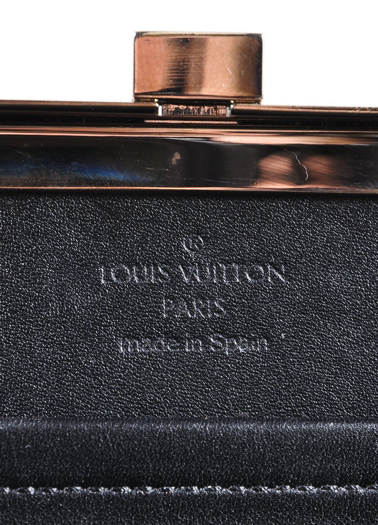 "Louis Vuitton Black Patent Leather ""Damier Vernis Ange PM"" Chain Strap Box Bag Brand"