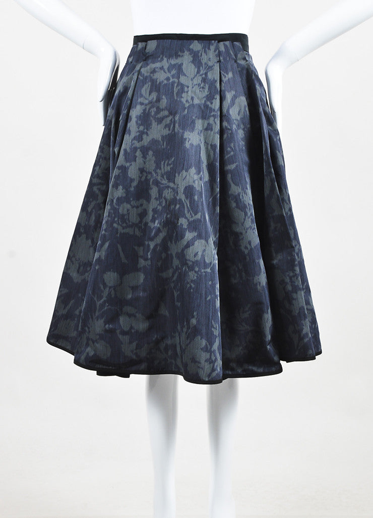 Louis Vuitton Dark Green Black Silk Print Full A-Line Skirt Frontview