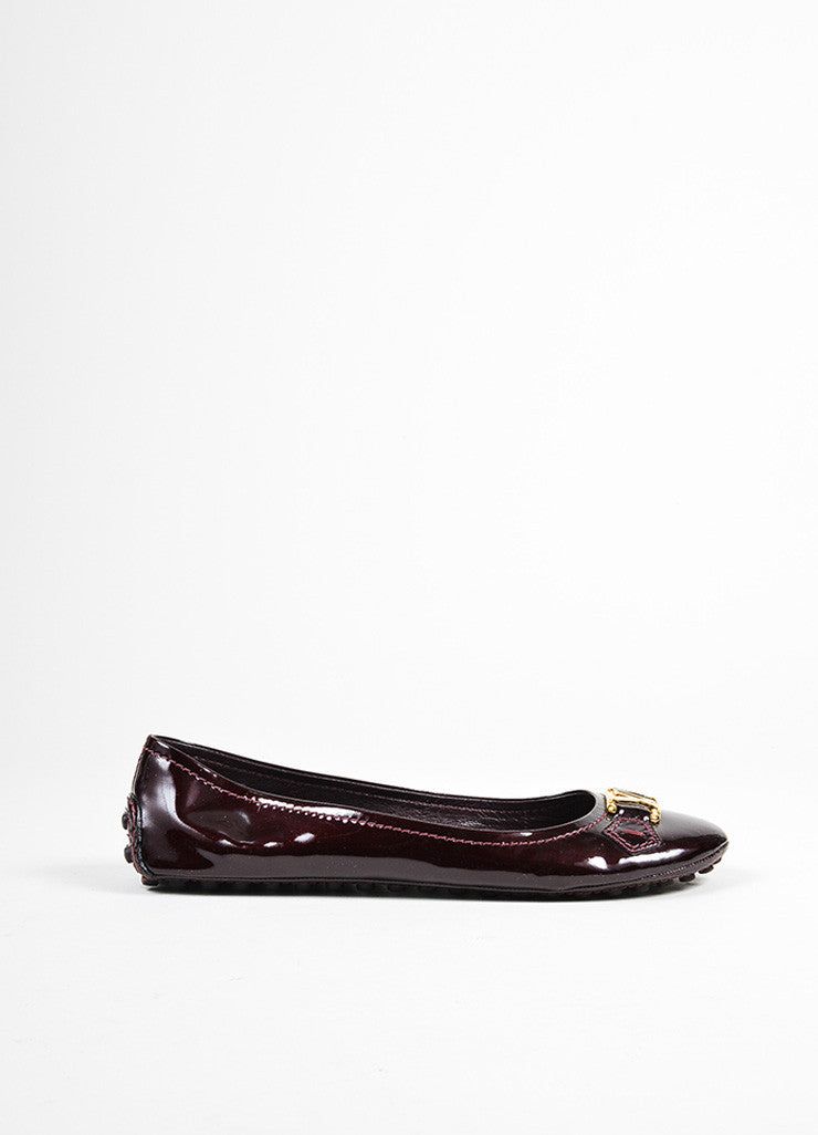 "Eggplant Purple Louis Vuitton Leather Driving ""Oxford Ballerina"" Flats Sideview"