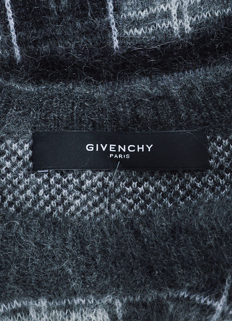 Men's Givenchy Grey Mohair Wool Plaid Crew Neck Pull Over Sweater Brand