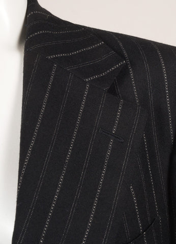 Men's Black and White Wool Pinstripe Pant Suit