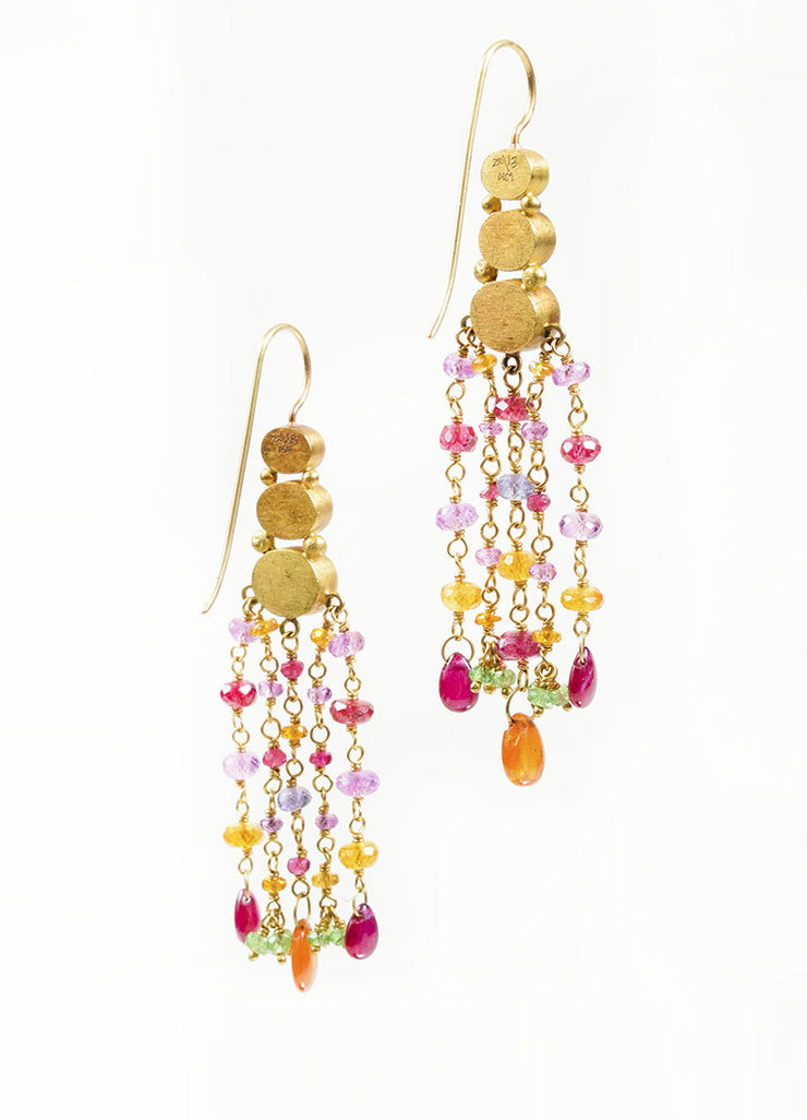 22K and 18K Yellow Gold and Multicolor Gemstone Mallary Marks Chandelier Earrings Backview
