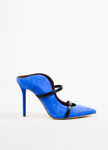 Royal Blue Malone Souliers Suede Leather Strap Pumps Side