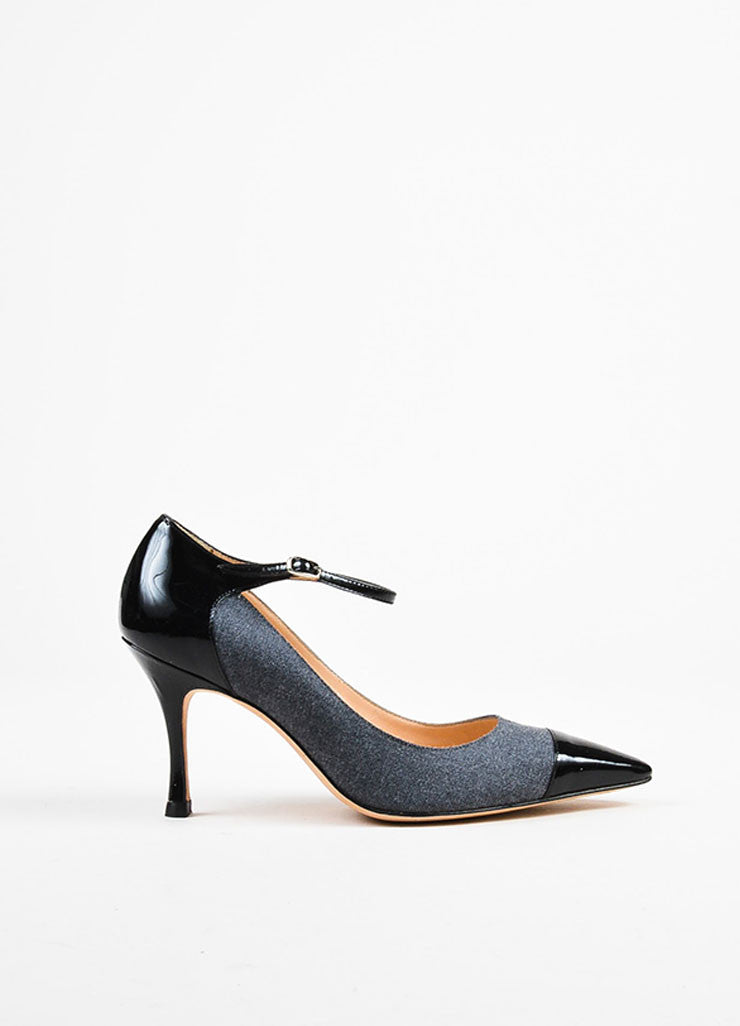 Manolo Blahnik Grey and Black Wool and Patent Leather Pointed Toe Pumps Sideview