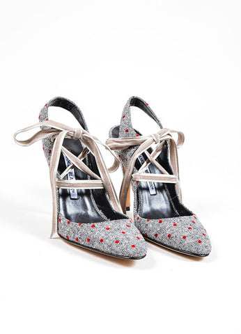 Grey and Red Manolo Blahnik Tweed and Velvet Polka Dot Lace Up Slingback Pumps Frontview