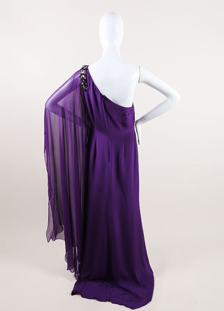 Marchesa Notte Purple Silk Beaded One Shoulder Draped Sleeve Gown Backview