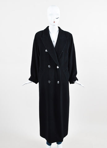Max Mara Black Wool Oversized Double Breasted Ankle Length Coat Frontview 2