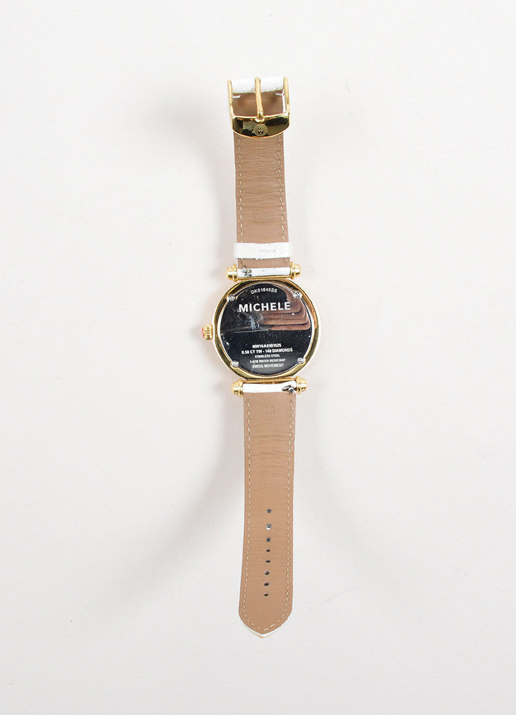 "Michele Gold Toned and Diamond White Alligator Leather Band ""Caber"" Watch Backview"