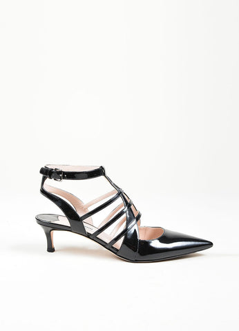 Black Miu Miu Patent Leather Caged Pointed Toe Kitten Heels Sideview