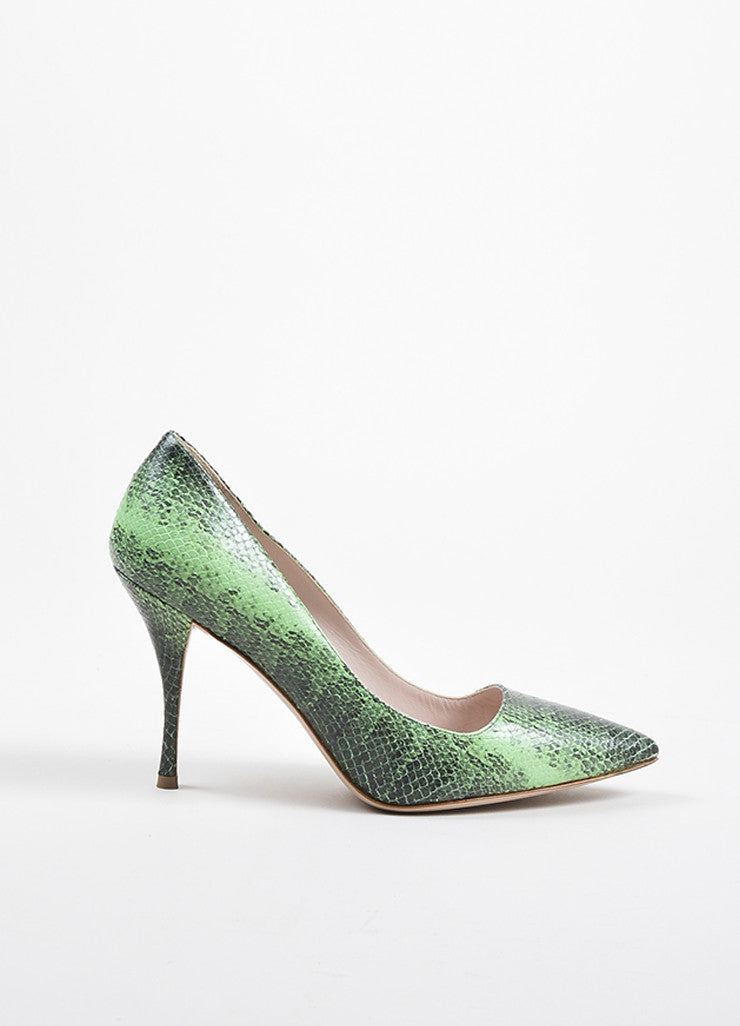Miu Miu Green and Black Leather Embossed Snakeskin Printed Pointed Toe Pumps Sideview