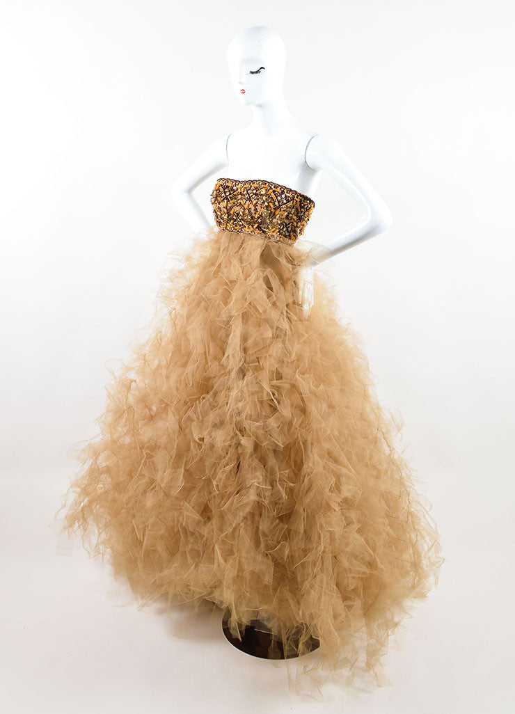 Oscar de la Renta Brown and Orange Beaded Layered Tulle Strapless Gown Sideview
