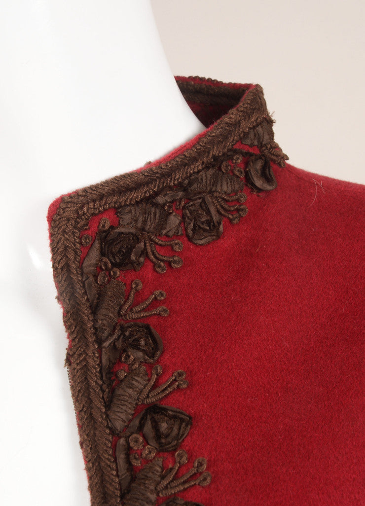 Oscar de la Renta Red and Brown Wool, Angora, and Cashmere Embroidered Zip Jacket Detail