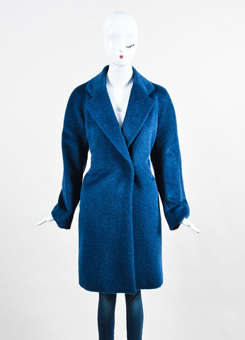 Blue Piazza Sempione Llama Wool Long Coat Frontview 2