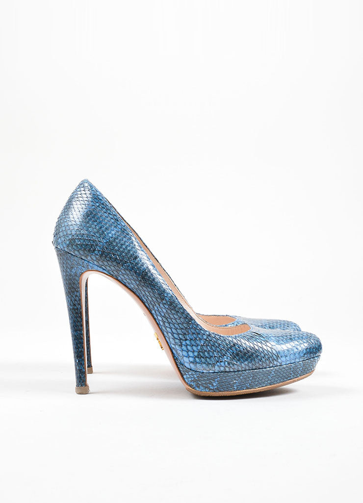 "Prada Blue ""Azzurro"" Ayers Snakeskin High Heel Pumps Side"