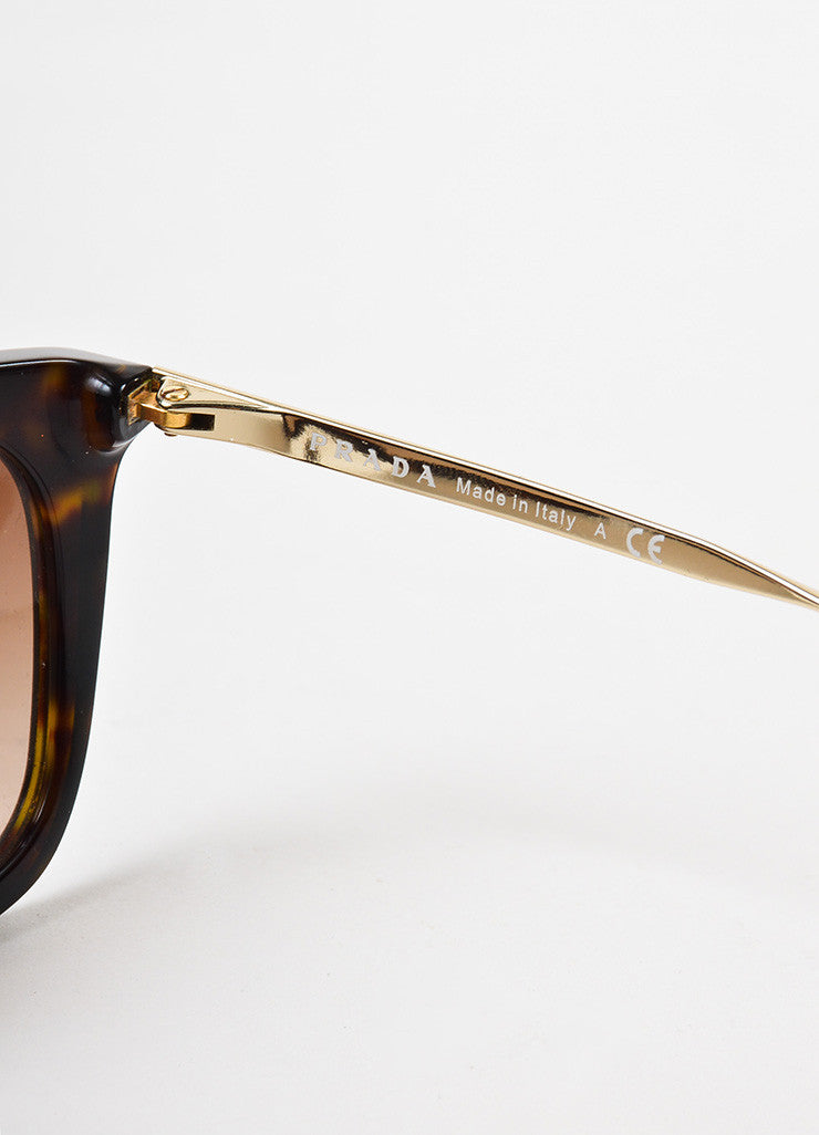 Prada Brown Tortoise Shell Gold Toned Square Two Bar Sunglasses Brand