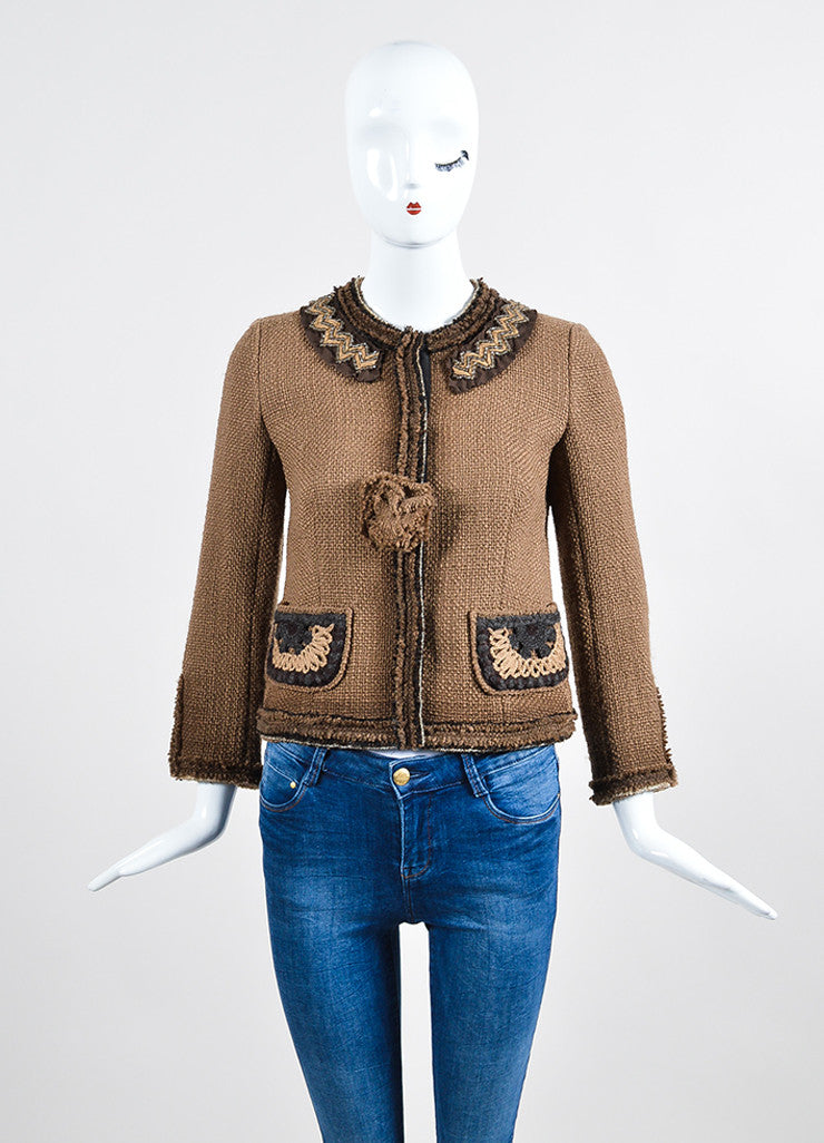 Prada Brown Tweed Frayed Edge Embroidered Pocket Jacket Frontview 2