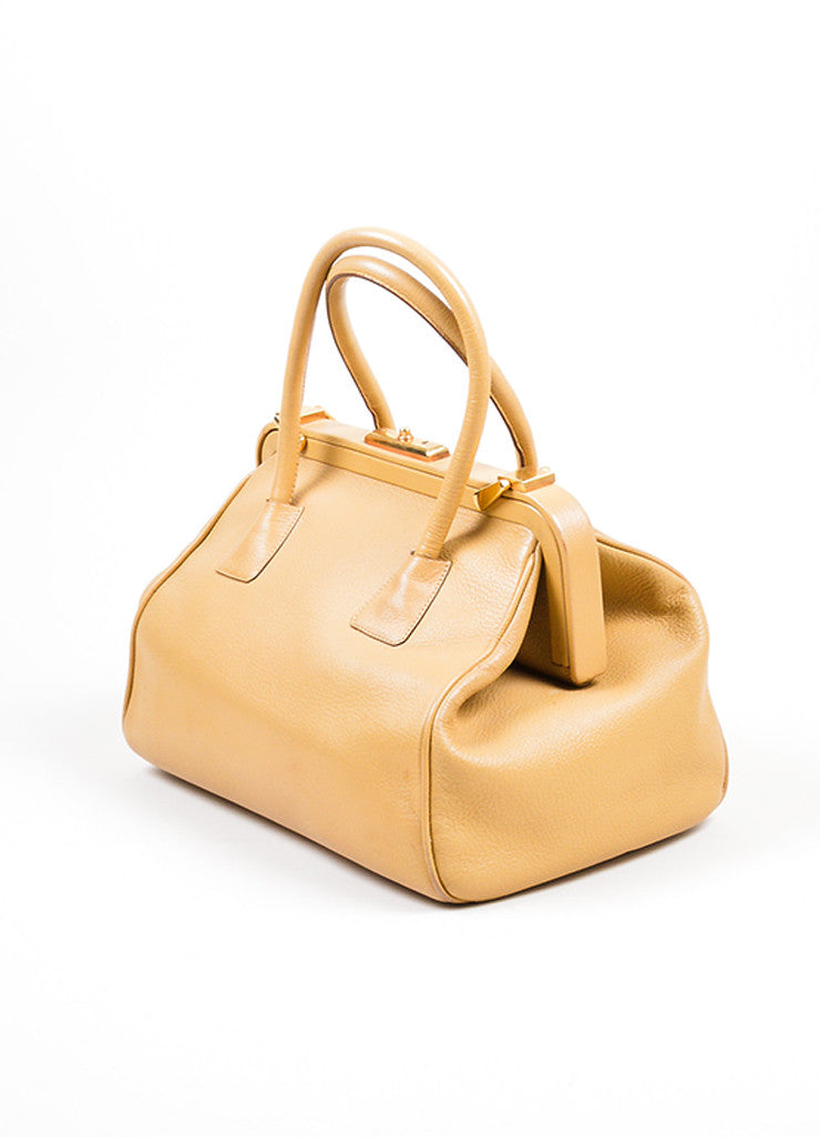 Camel Tan Prada Pebbled Leather Double Handle Push-Lock Frame Satchel Bag Sideview