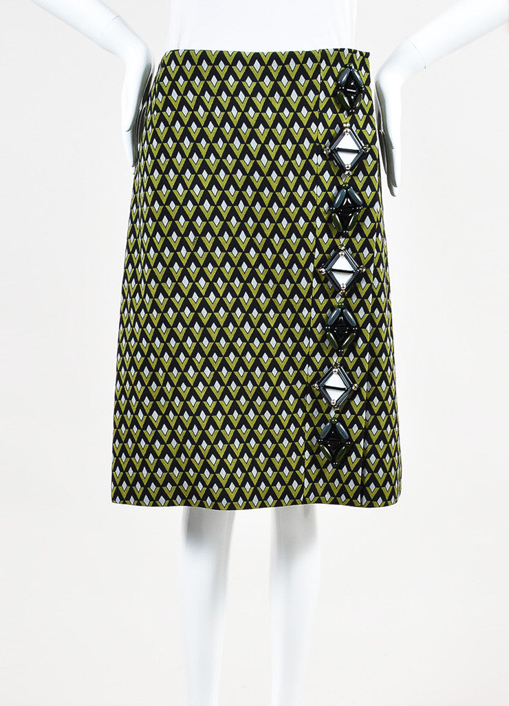 Prada Green and Black Woven Geometric Beaded Wrap A Line Knee Length Skirt Frontview