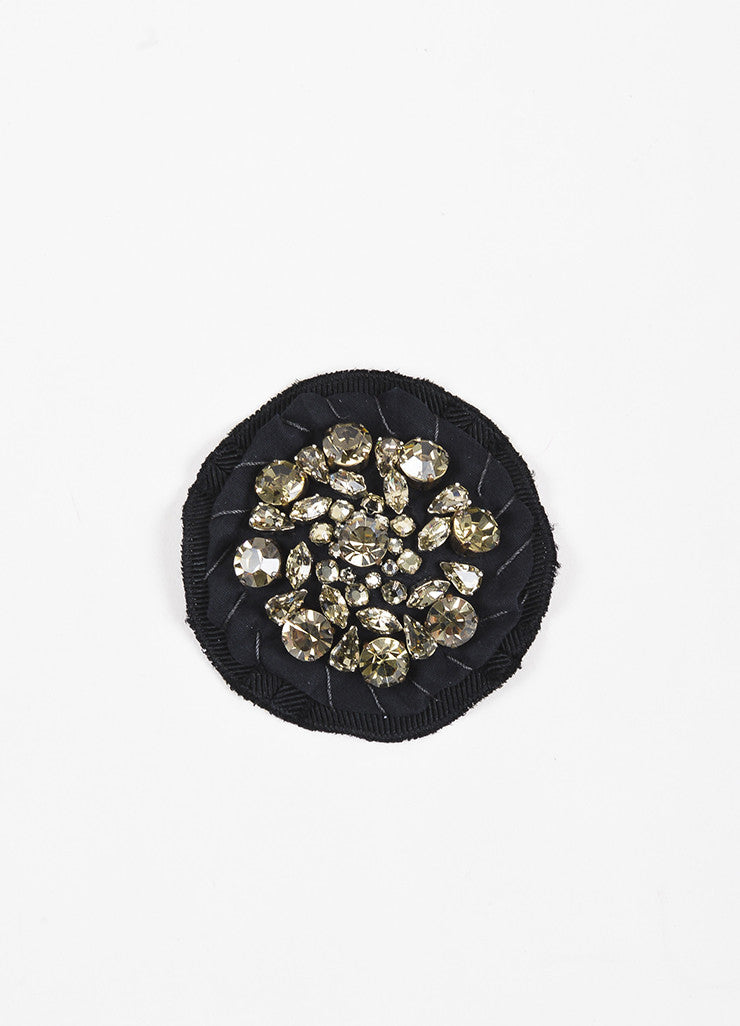 Prada Black Silk Twill Clear Jewel Circle Brooch Pin Frontview