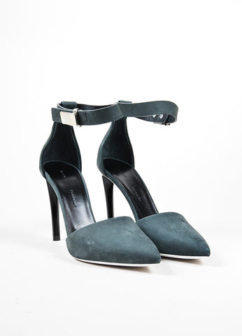 Dark Grey Proenza Schouler Suede Pointed Toe D'Orsay Pumps Frontview