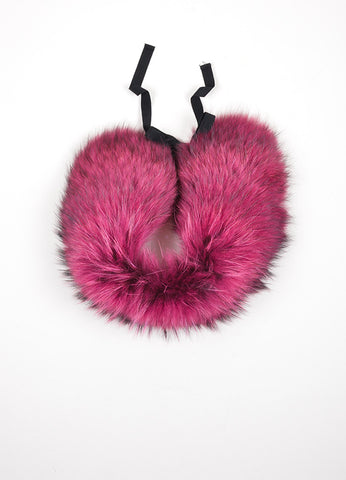 Magenta and Black Red Valentino Fur Tie Collar Bottom View