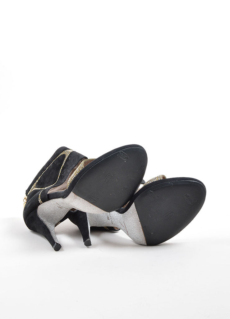 Rene Caovilla Black and Taupe Suede Rhinestone Glitter Sandal Heels Outsoles